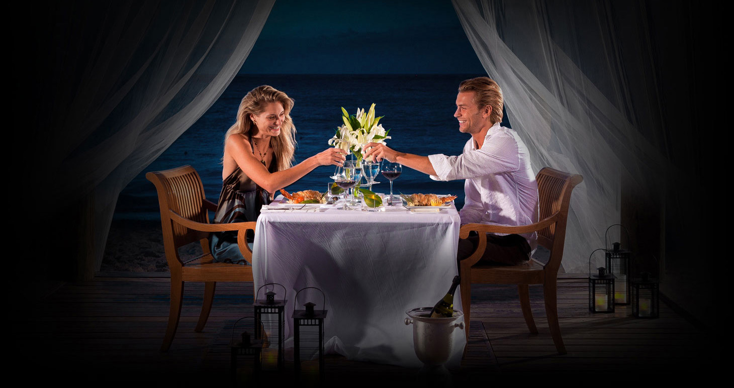 Romantic Candlelight Dinner In The Caribbean Beaches