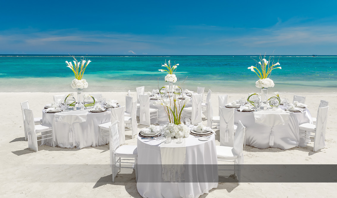 White Linen Wedding Beach