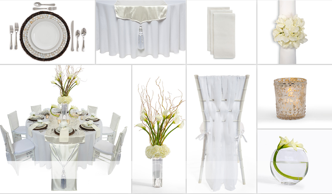 White Linen Wedding Grid