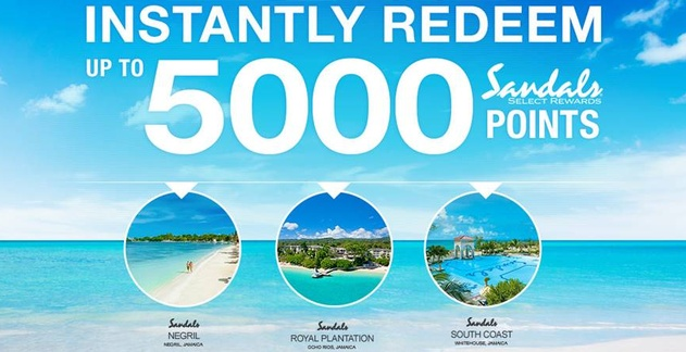 Instantly Redeem up to 5,000 Sandals Select Points