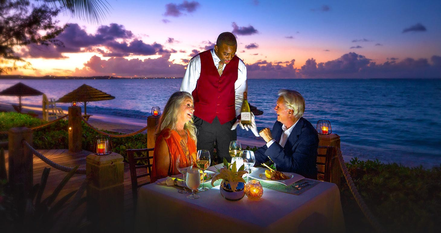 Candlelight dinner on the beach in miami