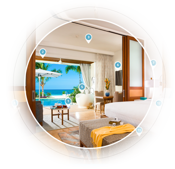 Inside view of room illustrating Sandals Cleanliness Protocols