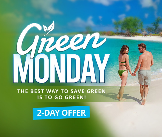 Green Monday 2-Day Sale - Book any qualifying Sandals vacation of 6-nights or longer and receive a special package offer for up to two (2) persons.